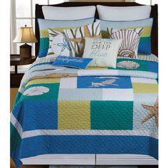 Blue Oasis Coastal Patchwork Quilt Bedding