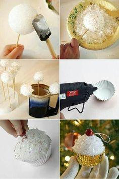 Bricoler des cupcakes pour votre sapin! 12 modèles! 2 façons de faire!
