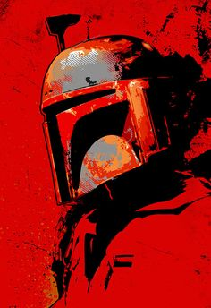 Star Wars, Boba Fett, Geekery, fan art, illustration, poster size, art print in red, available in multiple sizes. on Etsy, $30.00