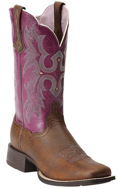 Ariat® Tombstone® Women's Vintage Bomber Brown with Plum Top Square Toe Cowboy Boot