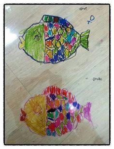 OHP필름지에 물고기 표현