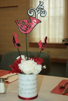 Band banquet Centerpiece.   I used the Cricut Cartridge - Quarter Note.