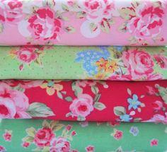 Shabby Chic Pink Polka Dot Floral Fat Quarter Bundle