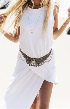Sleeveless Asymmetrical White Dress