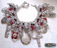 "Jesus ""Holy Face""    ~        This bracelet I created with a very special medal of Holy Face, glass Sacred Heart medal a Sorrowful Mother crucifix, a vintage St. Louis medal and others"