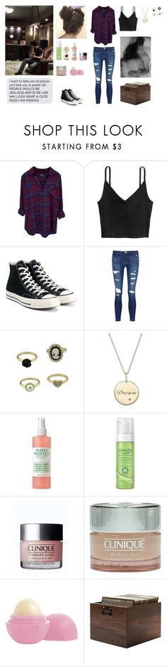 """Sunday morning with Keanu"" by circe-1emon ❤ liked on Polyvore featuring Rails, Converse, J Brand, Mario Badescu Skin Care, Burt's Bees, Clinique, Eos and love"