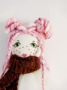 Pink hair fabric doll, dress up doll, cloth handmade doll, girls gift by ShopFlorette on Etsy