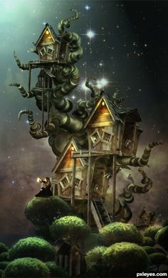 Create an Amazing Surreal-Style Treehouse in Photoshop. - Create this beautiful treehouse artwork using a combination of photo manipulation and painting techniques. Find out how to easily draw a surreal-looking tree easily using the Brush tool. Fantasy House, Fantasy World, Fantasy Art, Art Fantaisiste, Photo Manipulation Tutorial, Art Et Illustration, Photoshop Tutorial, Adobe Photoshop, Tree Photoshop