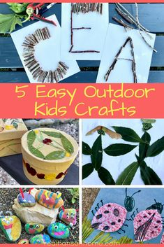 5 Easy and Cheap Outdoor Kids Crafts for kids to learn how to use nature for art projects. Get kids exploring nature and using their creativity and imagination. #kidscrafts #craftsforkids #creative