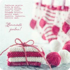 Joulukortti Villasukat White Christmas, Christmas Diy, Winter Hats, Knitting, Texts, Inspirational Quotes, Life Coach Quotes, Tricot, Breien
