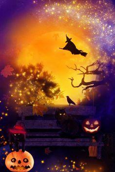 Halloween Night by on DeviantArt Halloween Trees, Halloween Pictures, Halloween Season, Halloween Quotes, Halloween Night, Spooky Halloween, Vintage Halloween, Halloween Pumpkins, Happy Halloween