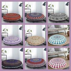 Meditation cushion, Floor Pouf Ottoman, Indian Mandala Floor Pillow Yoga pillow Cushion Boho Pillow Handmade Round Large Floor Cushion Cover