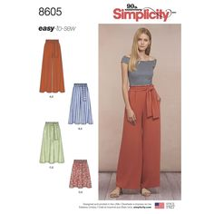 The easy-to-sew high paper bag waist pants and skirts for Misses sized XS to XL feature pull-on design with pockets and tie belt. Simplicity sewing pattern.