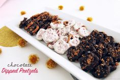 chocolate dipped pretzels - i've never tried melting the chocolate with butter before....