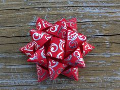 Red and Silver Swirl Christmas Present Bow by LittleJaysBows