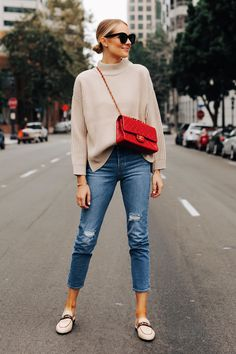 Fashion Jackson Wearing Topshop Beige Mock Neck Sweater Levis Ripped 501 Jeans G. - Fashion Jackson Wearing Topshop Beige Mock Neck Sweater Levis Ripped 501 Jeans Gucci Princetown Tan Canvas Mules Classic Chanel Red Handbag Source by mrsmarapins - Mode Outfits, Jean Outfits, Fall Outfits, Party Outfits, Fashion Mode, Look Fashion, Autumn Fashion, Classic Fashion Outfits, Fashion Blogger Style