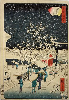 Edo in winter;Hiroshige Andoh @森宮古美術*古美術もりみや-二代広重『東都三十六景 湯しま天神』