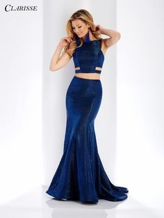 Clarisse - 3486 Two-Piece Novelty Cutout Sheath Gown Backless Mermaid Prom Dresses, Mermaid Prom Dresses Lace, Prom Dresses With Sleeves, Beautiful Prom Dresses, Elegant Dresses, Nice Dresses, Trumpet Skirt, Formal Gowns, Formal Wear