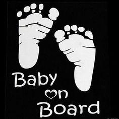 Aufkleber BABY ON BOARD Baby Abdrücke Autoaufkleber Sticker Fenster Dekor Weiß 1