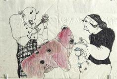 Dasha Shishkin aka даша Шишкина (Russian, b. 1977, Moscow, Russia, based NY, USA) - Pneumonia Drawings: Ink on Napkin