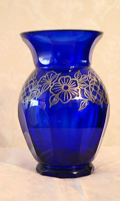 Stunning Cobalt Blue Heavy Facet Cut Glass Vase Silver Overlay Art Deco