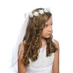 Dressforless Girls-First Communion White Floral Pearl & Rhinestone Tiara with Veil