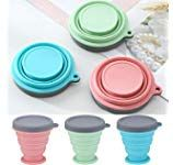 Aryshaa Silicone Collapsible Travel Cup Silicone Folding Camping Cup with Lids - Expandable Drinking Cup Pack of (Assorted Colors) Camping Cups, Steel Rims, Travel Cup, Cupping Set, Cool Kitchens, Drinking, Kitchen Products, Colors, Money