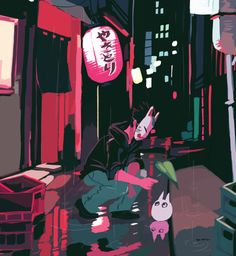 """Rainy night in Tokyo © Daryl Toh Liem Zhan 2014. You never know what you'll find in Tokyo's alleyways at night. Color and style practice, influenced from artist Kali Ciesemier's """"Memory Lane"""" illustration piece. It's quite a challenge to paint this without my usual black line art and only relying on the colors to bring out my subject matter."""