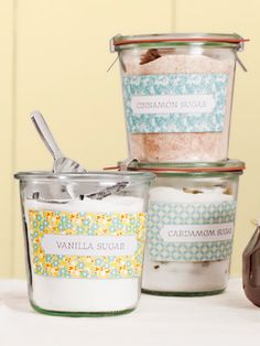 Make these flavored sugars gift-ready by packaging them in glass jars and attaching our pretty patterned labels!