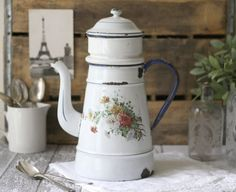 Antique French Floral Enamelware 162