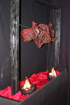 How to make a barbeque from My Haunted Home Halloween Yard Decorations, Halloween Table, Halloween 2014, Creepy Halloween, Halloween Skeletons, Halloween Party Decor, Halloween House, Holidays Halloween, Halloween Themes
