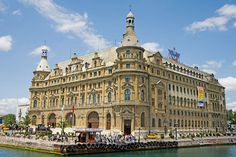 Haydarpaşa Railway Station, Istanbul Less famous—but no less grand—than Istanbul's Sirkeci station, Haydarpaşa has the distinction of being built on land reclaimed from the Bosporus Strait, which leaves it surrounded by water on three sides. The imposing neoclassical edifice, designed by German architects Otto Ritter and Helmut Conu, was inaugurated in 1909 on the birthday of the reigning sultan, Mehmed V