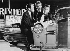 """""""Ocean's Eleven"""" movie still, L to R: Frank Sinatra, Peter Lawford, Richard Conte. This scene takes place minutes after 12 midnight on New Year's Day. Ocean's Eleven, Richard Conte, Oceans 11, Old Vegas, Peter Lawford, Cinema Posters, Original Movie Posters, We Movie"""