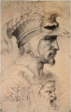 """Ideal Head of a Warrior"" (Count of Canossa) -- Circa -- Anonymous Artist (After Michelangelo) -- Black chalk on paper -- The British Museum, London Michelangelo, Renaissance Kunst, Italian Renaissance, Caravaggio, Famous Artists, Great Artists, Giacometti, Italian Sculptors, Western Art"