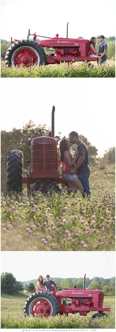 Country engagement shoot with Farmall tractor. Look even better with a john Deere