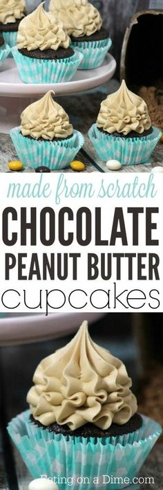 Chocolate peanut butter cupcakes recipe made from scratch! Today I have a delicious recipe for chocolate peanut butter cupcakes that I think you are going to love. The homemade chocolate cupcake is moist and sweet and the peanut butter frosting adds the perfect touch.