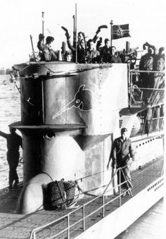 U-Boats ~ The German submarine U-744 boat in the harbor of Brest, France ~ BFD: