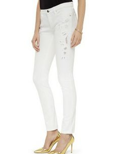 JUICY COUTURE White Eyelet Skinny Jean