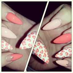 Pink Leopard And Hearts; i want these but with the rounded nails