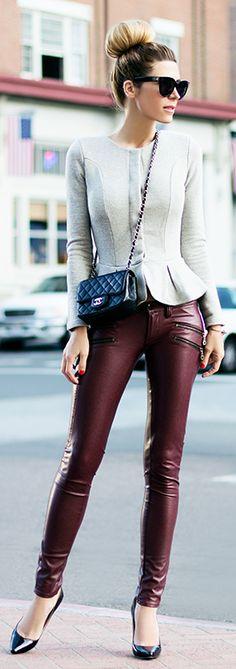 #street #fashion casual Burgundy Leather Pants @wachabuy