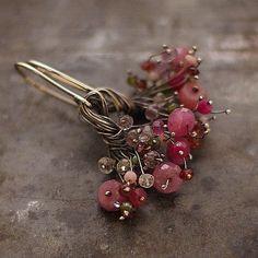little flowers earrings sterling silver pink от ewalompe
