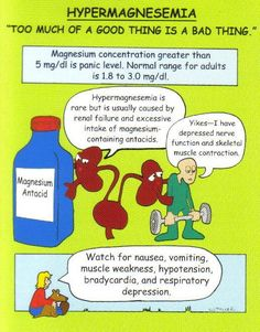 nurse-with-a-smile:  Hypermagnesemia: Risk Factors: Renal failure Excessive Mg++ therapy Adrenal insufficiency Laxative abuse Manifestations: Magnesium > 3.0 mEq/L Hypotension Drowsiness Decreased DTRs Bradycardia Bradypnea Coma Cardiac arrest Interventions: Decrease intake IV calcium gluconate Mechanical ventilation Temporary pacemaker