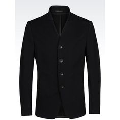 ARMANI COLLEZIONI Slim Fit Jersey Jacket ($995) ❤ liked on Polyvore featuring men's fashion, men's clothing, men's outerwear, men's jackets, black, mens slim jacket and mens slim fit jacket