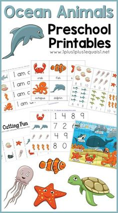 Ocean Animals Printable Pack ~ free ocean theme printables for Tot School, preschool and Kindergarten! Expose early learning skills with these fun ocean animals!