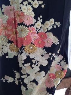 Vintage Japanese Kimono silk with multicoloured embroidered chrysanthemum