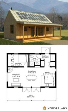 Cabins and Cottages: green rustic cabin floor plan and elevation 700 sf. Tiny House Cabin, Tiny House Living, Tiny House Plans, Tiny House Design, Cabin Homes, Log Homes, House Floor Plans, Tiny Homes, Small House Plans Under 1000 Sq Ft