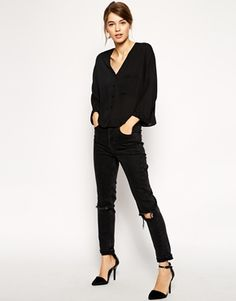 Enlarge ASOS Long Sleeve V Neck Blouse