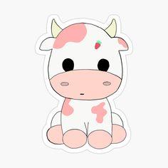 Stickers Kawaii, Preppy Stickers, Cute Laptop Stickers, Cool Stickers, Cute Animal Drawings Kawaii, Cute Easy Drawings, Cute Little Drawings, Cute Cartoon Drawings, Cow Wallpaper