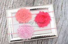 grace headband. set of three. coral pink. dark pink. light pink.  shabby chic flower headband.. $15.00, via Etsy.
