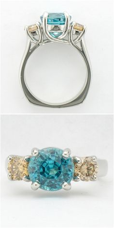 Custom Engagement Ring - ct Blue Zircon with tcw Champagne Diamonds - set in Platinum. I don't like the stones, but I love the setting. Unusual Jewelry, Unique Rings, Beautiful Rings, Wedding Ring For Him, Celtic Wedding Rings, Jewelry Rings, Jewelry Accessories, Jewlery, Engagement Ring Sizes